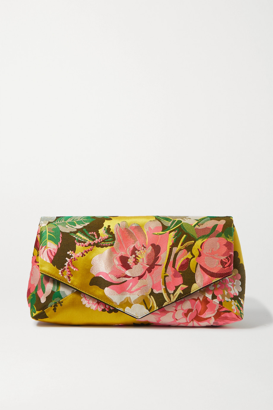Dries Van Noten Envelope large floral satin-jacquard clutch