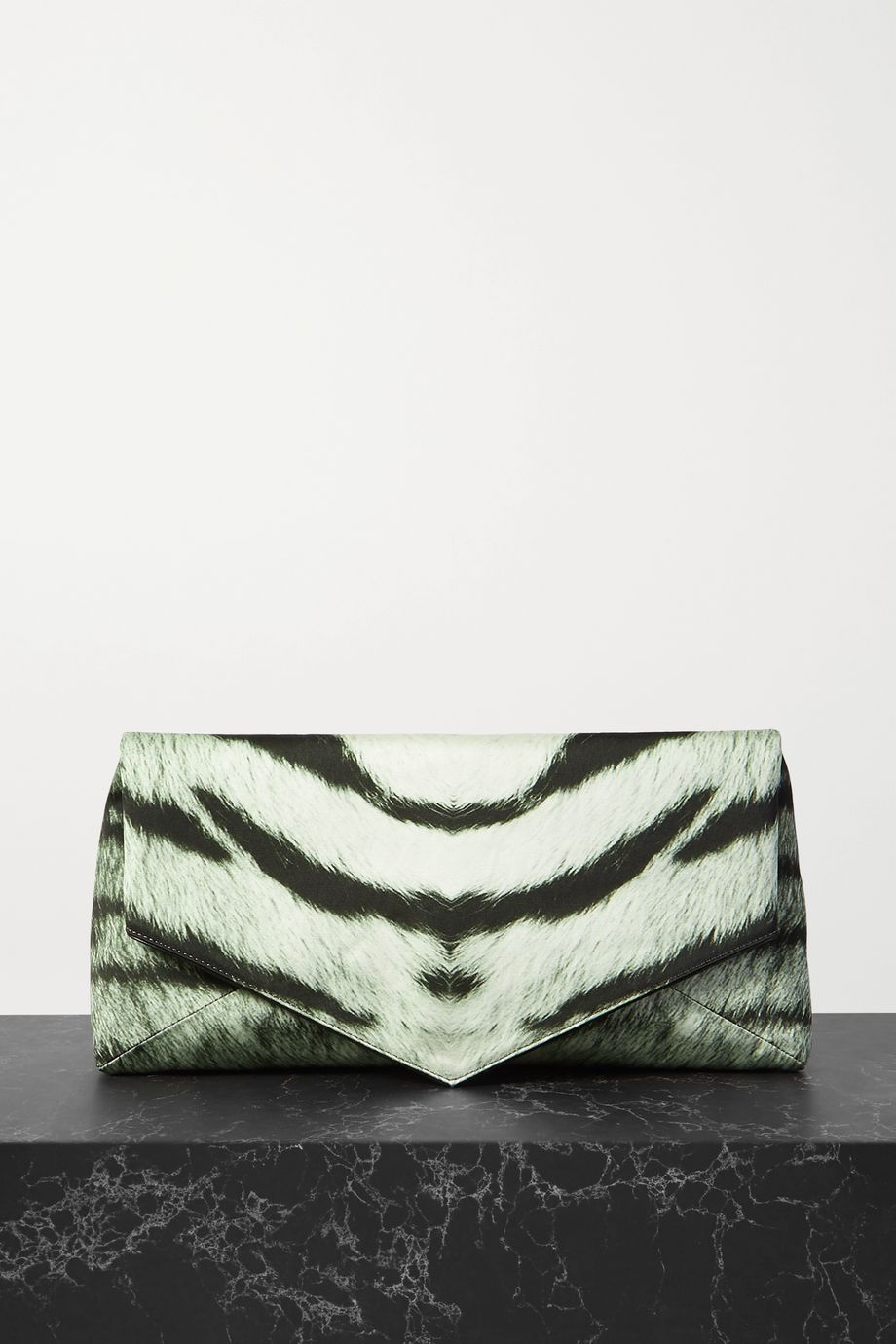 Dries Van Noten Envelope large zebra-print duchesse satin clutch