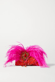 Dries Van Noten Envelope small feather and crystal-embellished jacquard clutch