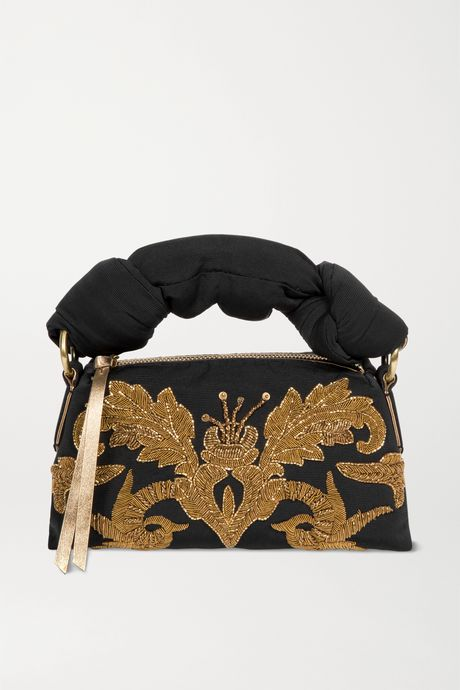 Black Pillow embellished embroidered faille tote | Dries Van Noten u7KJjt