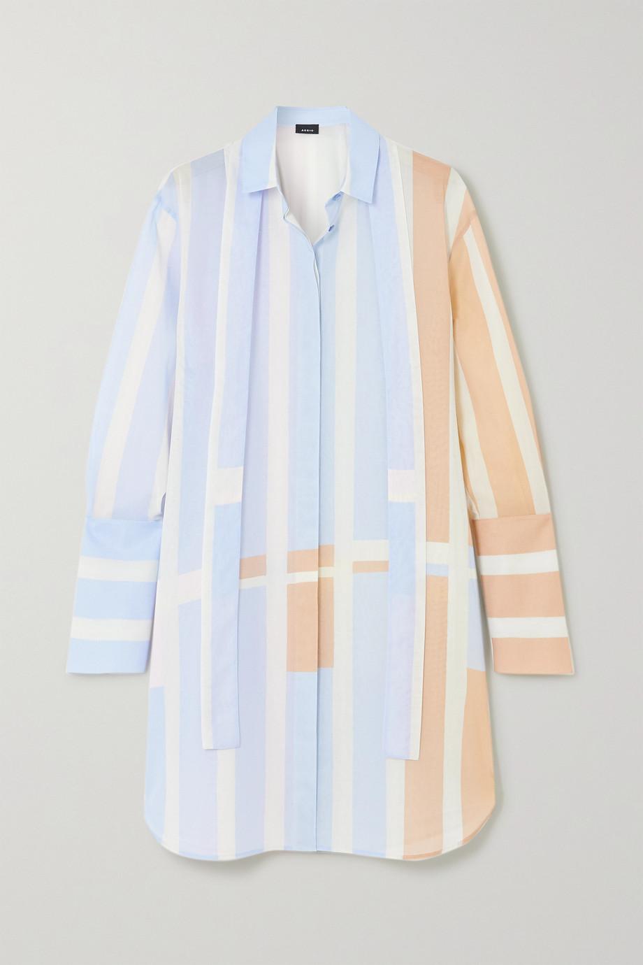 Akris Pussy-bow striped woven mini shirt dress