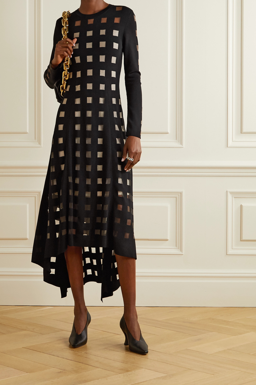 Akris Paneled stretch-knit and tulle midi dress