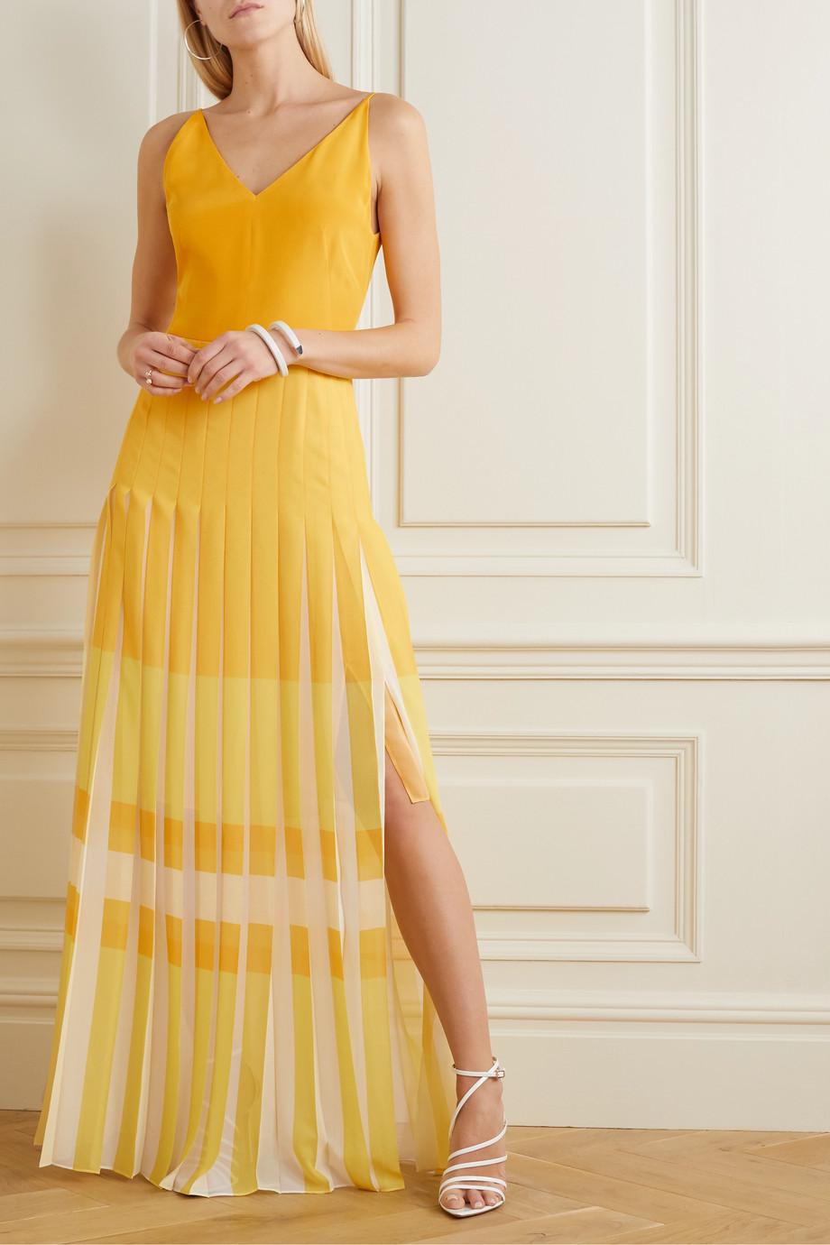 Akris Pleated color-block silk maxi dress