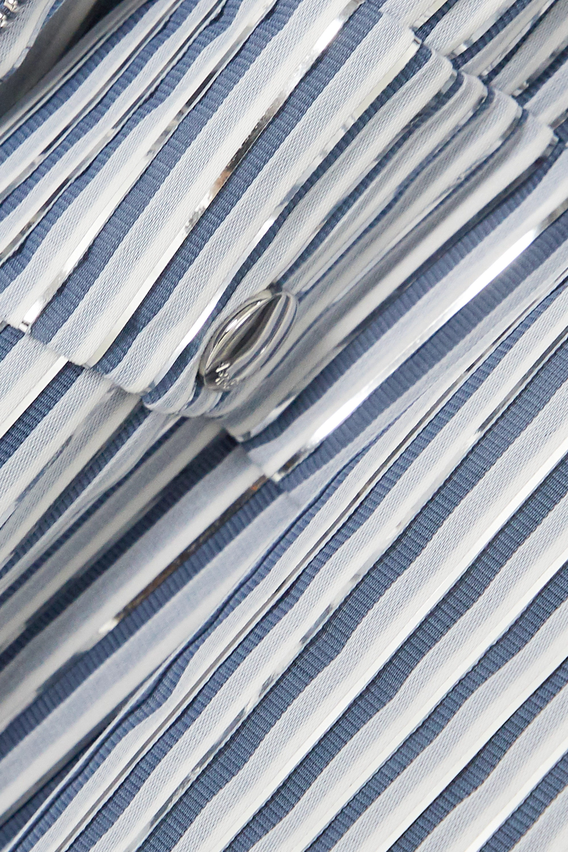 Akris Graham metallic striped canvas biker jacket