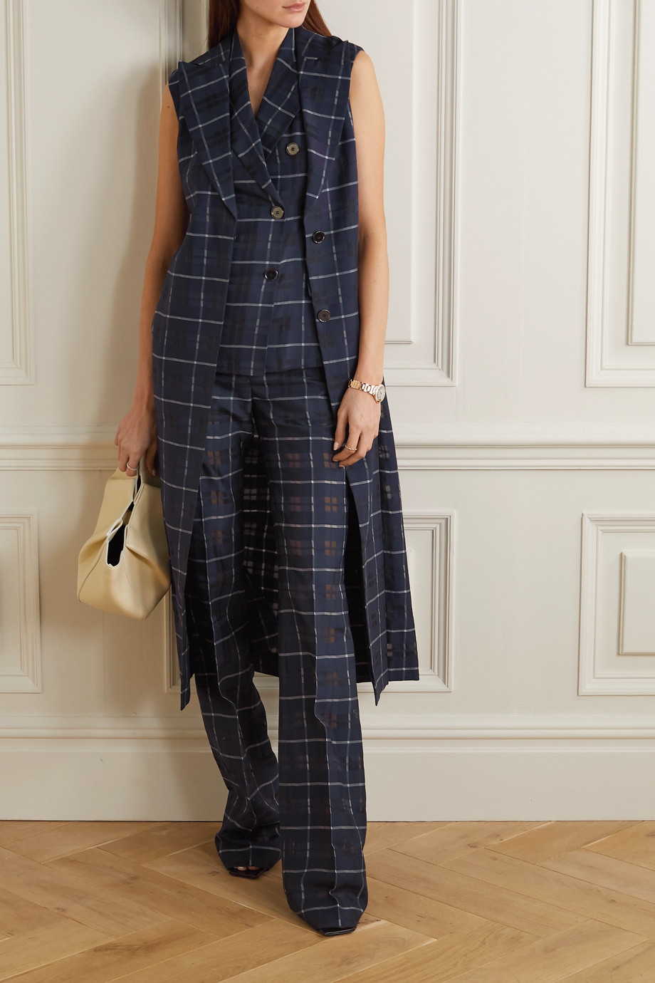 Akris Farida checked cotton and silk-blend flared pants