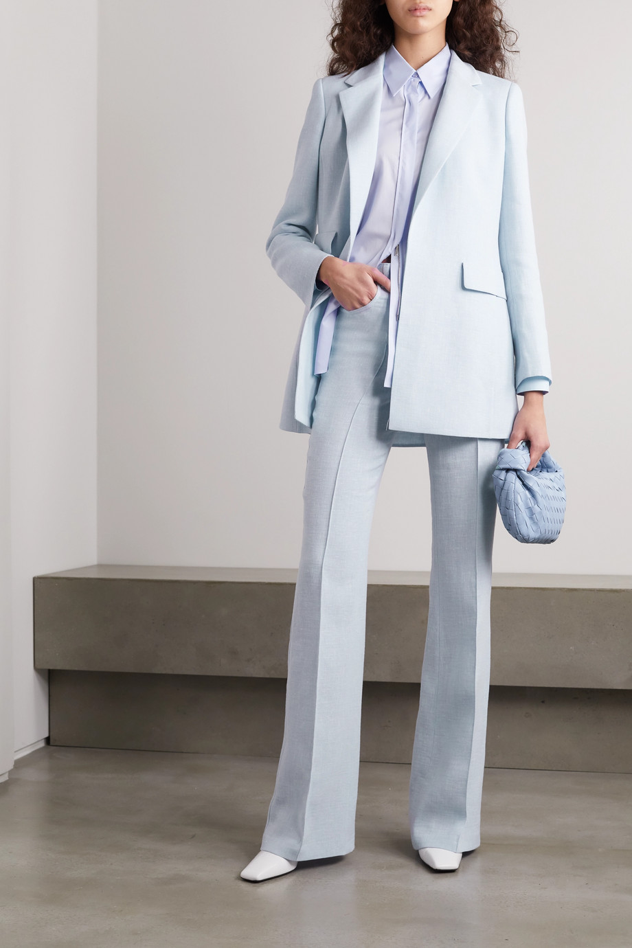 Akris Farid linen and wool-blend flared pants