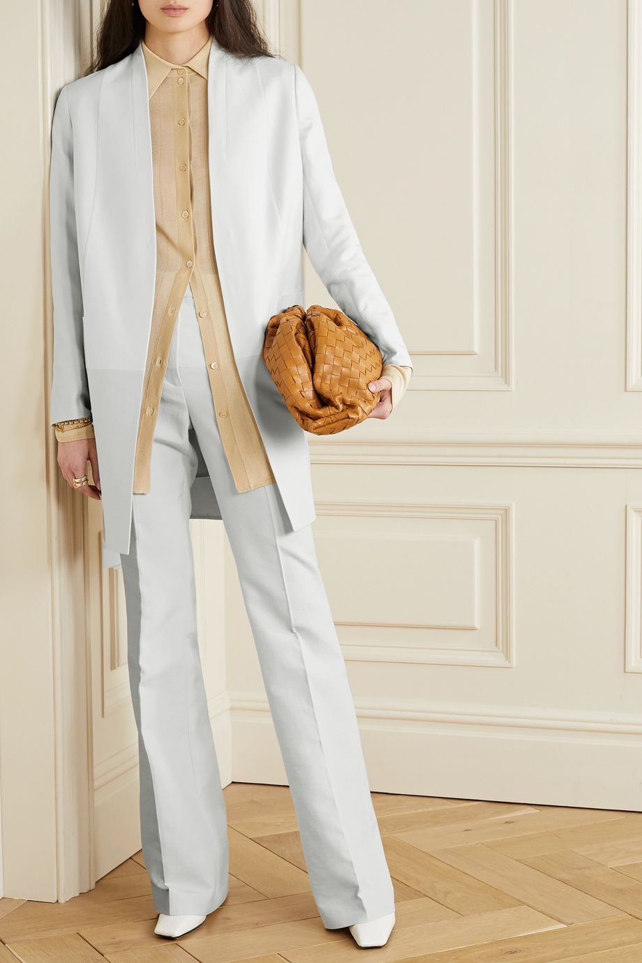 Akris Farida paneled cotton-blend twill straight-leg pants