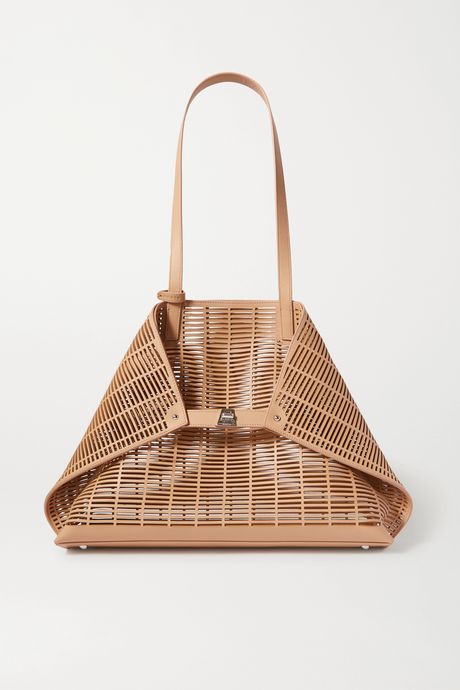 Beige Ai large laser-cut leather tote | Akris uQZ9Cm