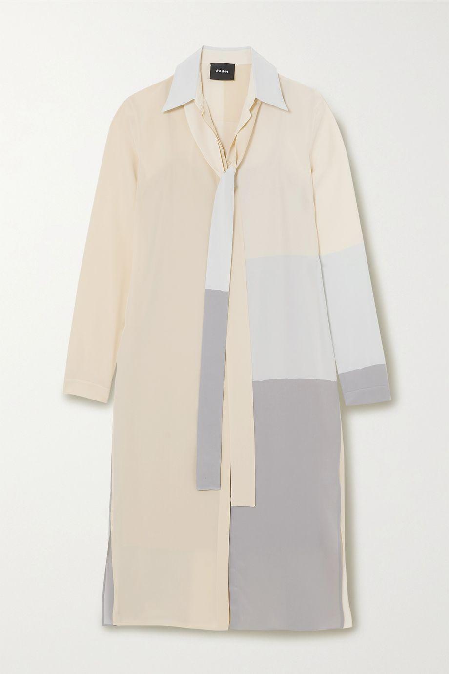 Akris Color-block mulberry silk crepe de chine tunic