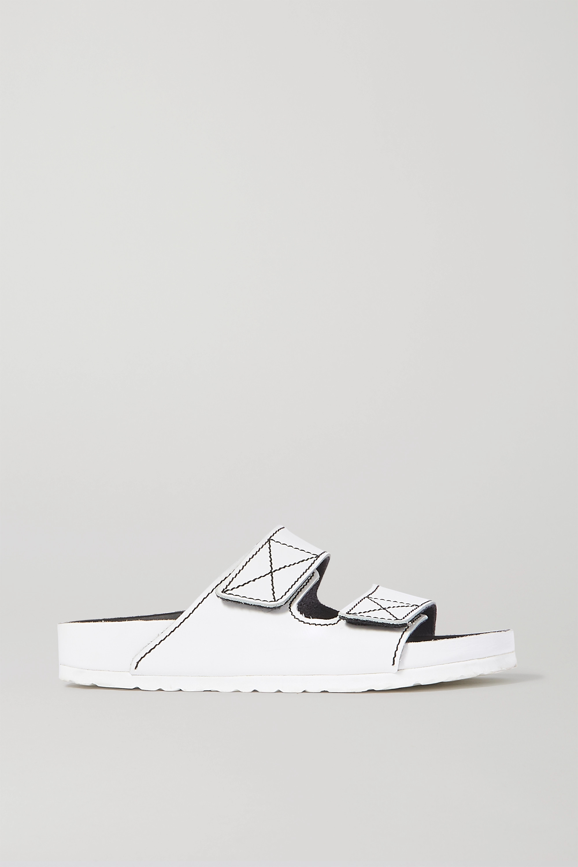 Proenza Schouler + Birkenstock Arizona topstitched glossed-leather sandals
