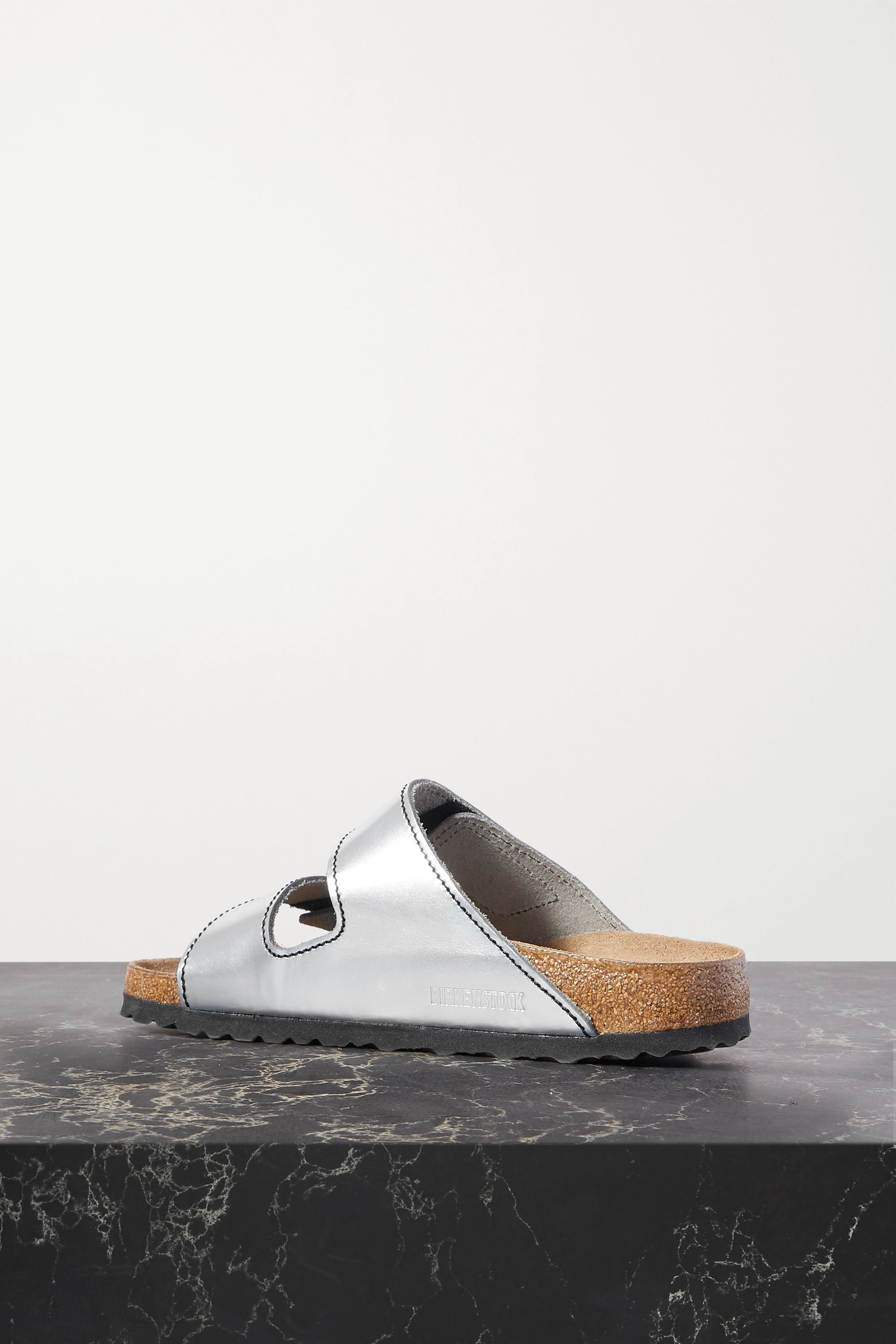Proenza Schouler + Birkenstock Arizona topstitched metallic leather sandals
