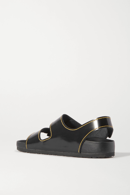 Proenza Schouler + Birkenstock Milano topstitched glossed-leather slingback sandals