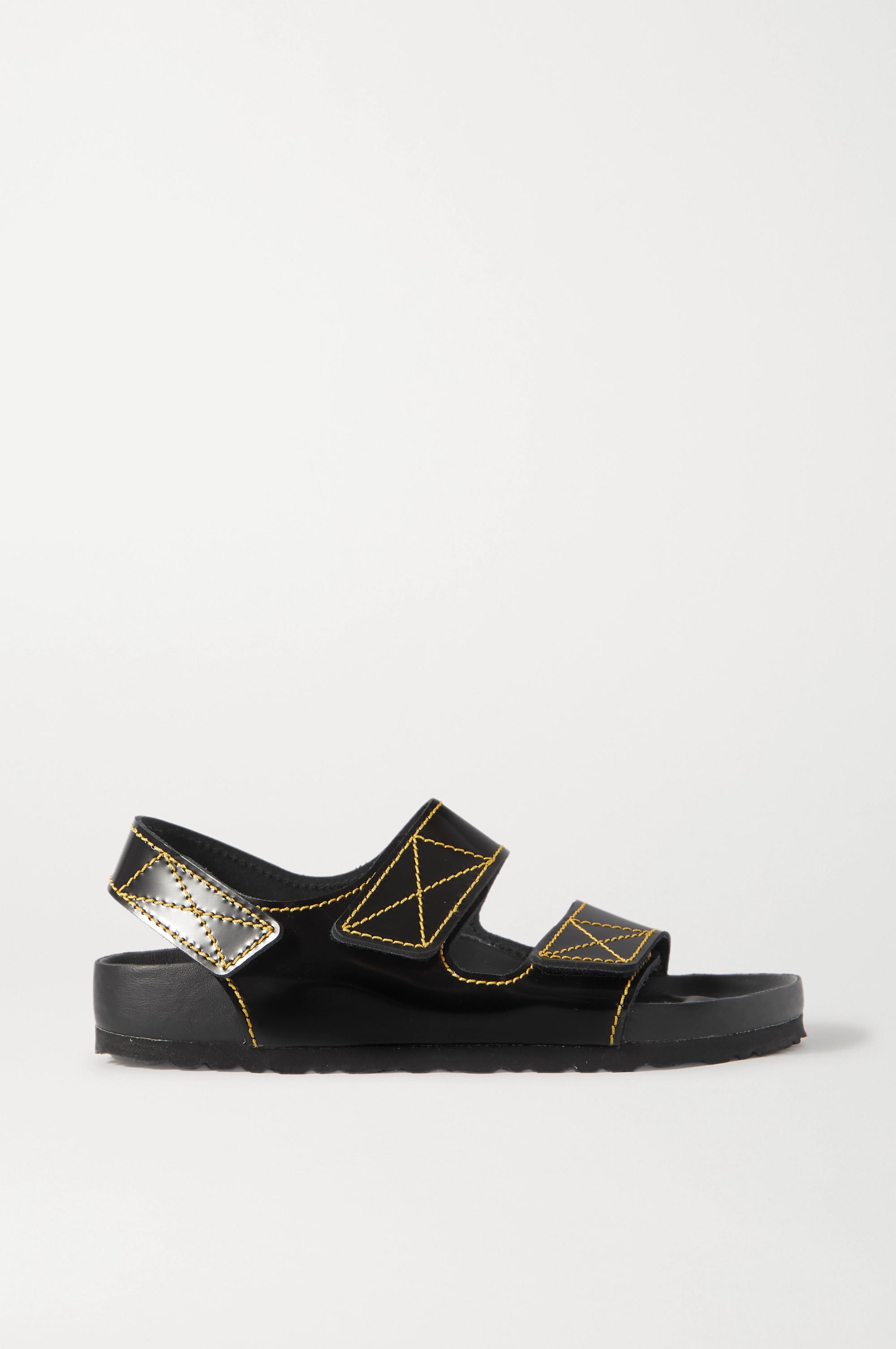 Proenza Schouler + Birkenstock Milano Slingback-Sandalen aus Glanzleder mit Kontrastnähten