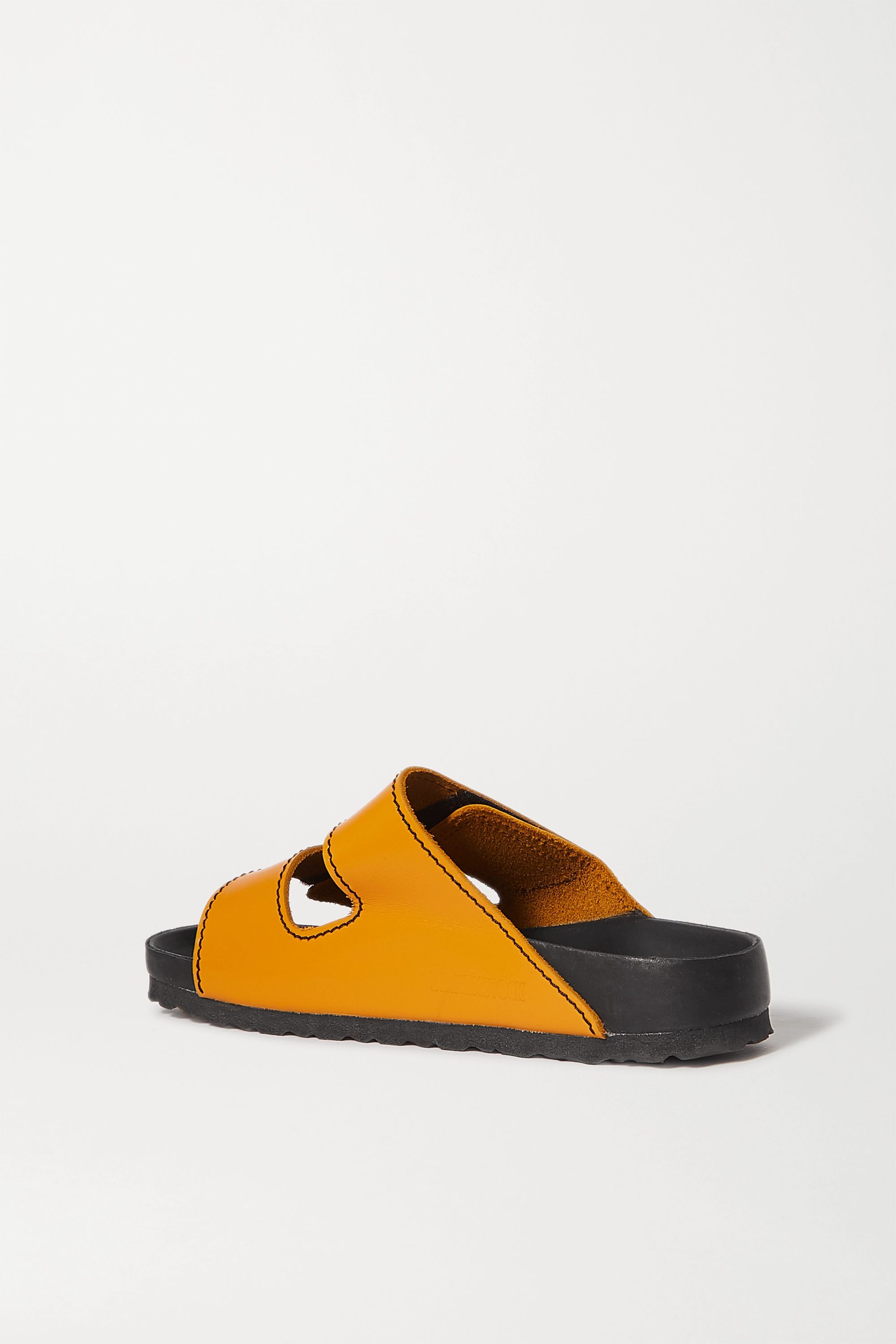 Proenza Schouler + Birkenstock Arizona topstitched glossed-leather sandals