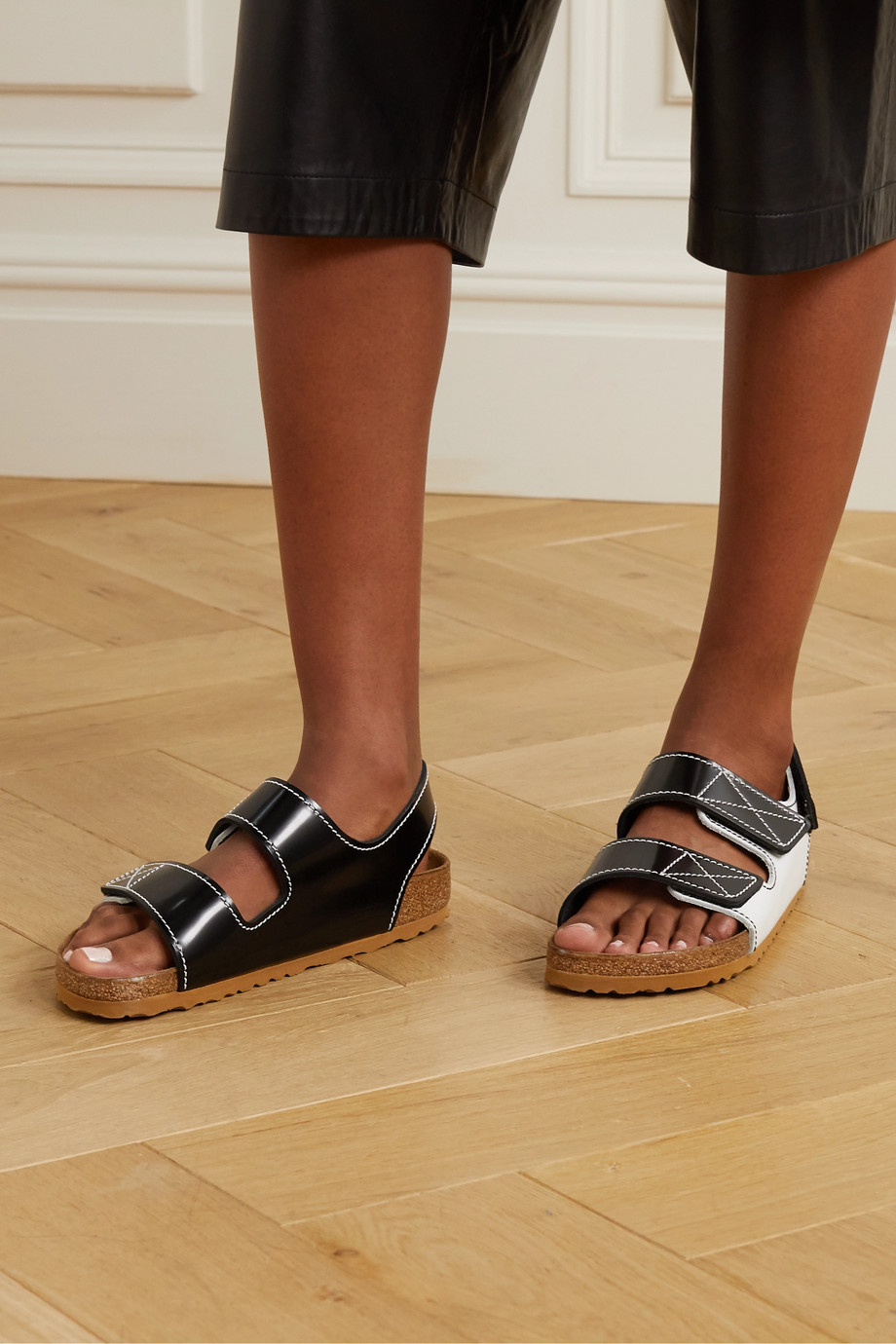 Proenza Schouler + Birkenstock Milano two-tone topstiched glossed-leather slingback sandals