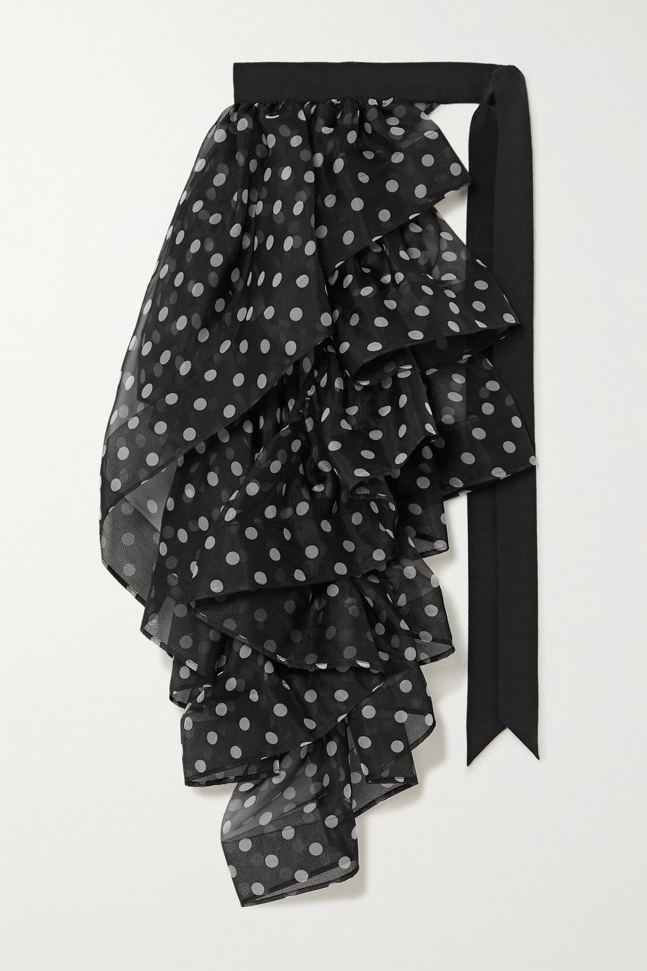 Dries Van Noten Ruffled polka-dot silk-georgette and grosgrain belt