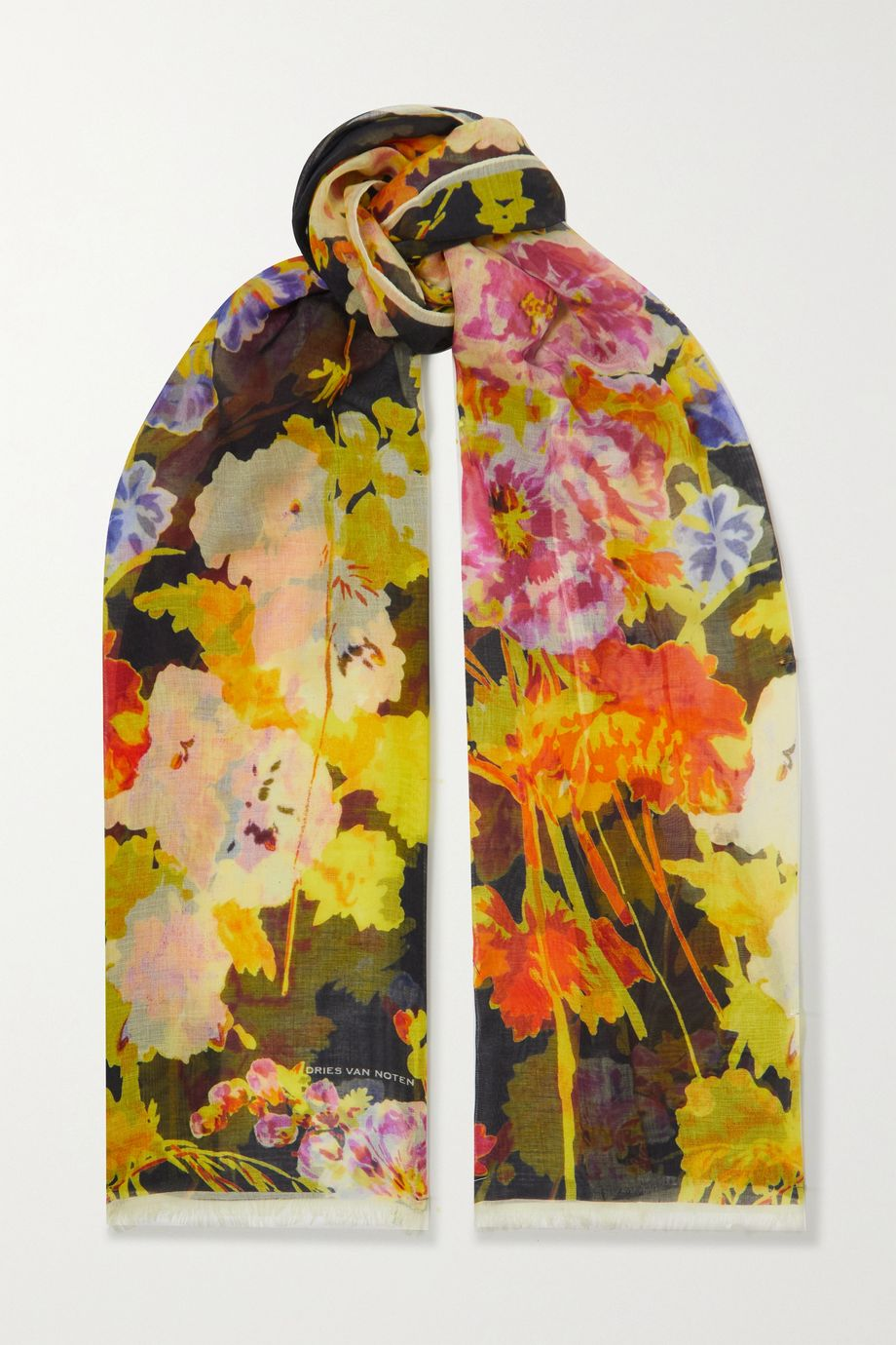 Dries Van Noten Fringed floral-print silk and modal-blend scarf
