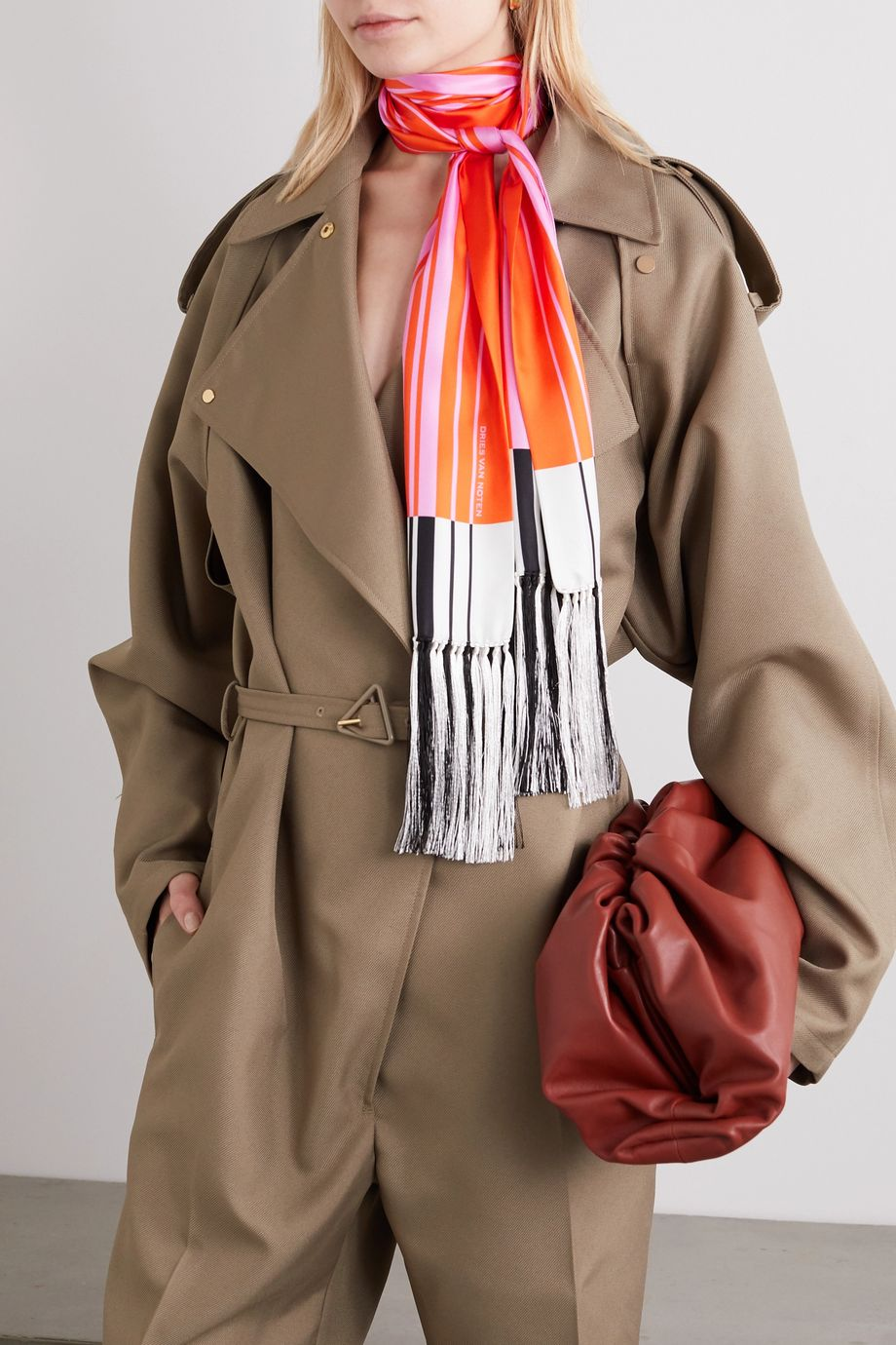 Dries Van Noten Fringed striped silk-twill scarf