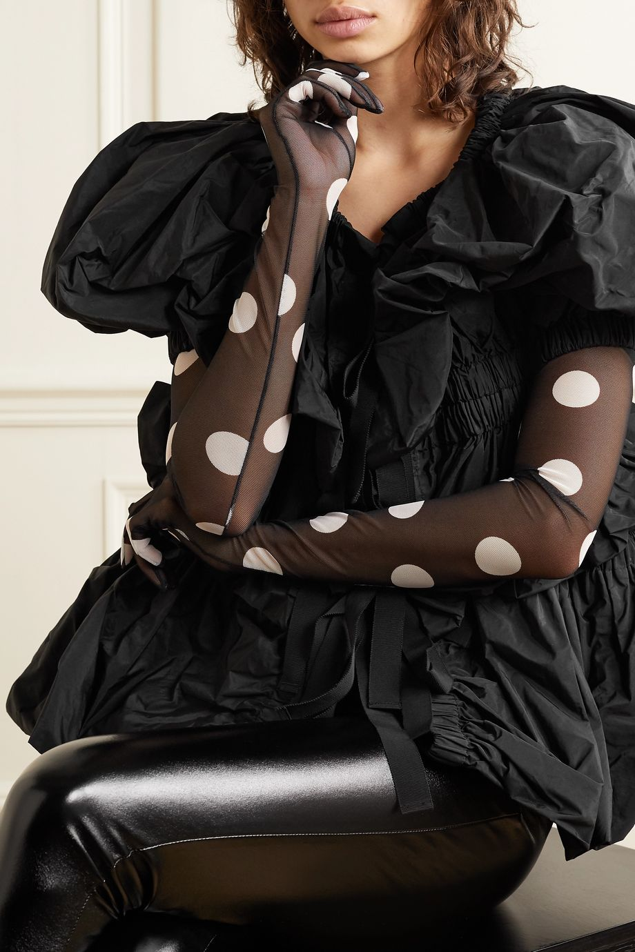 Dries Van Noten + Christian Lacroix polka-dot stretch-tulle gloves