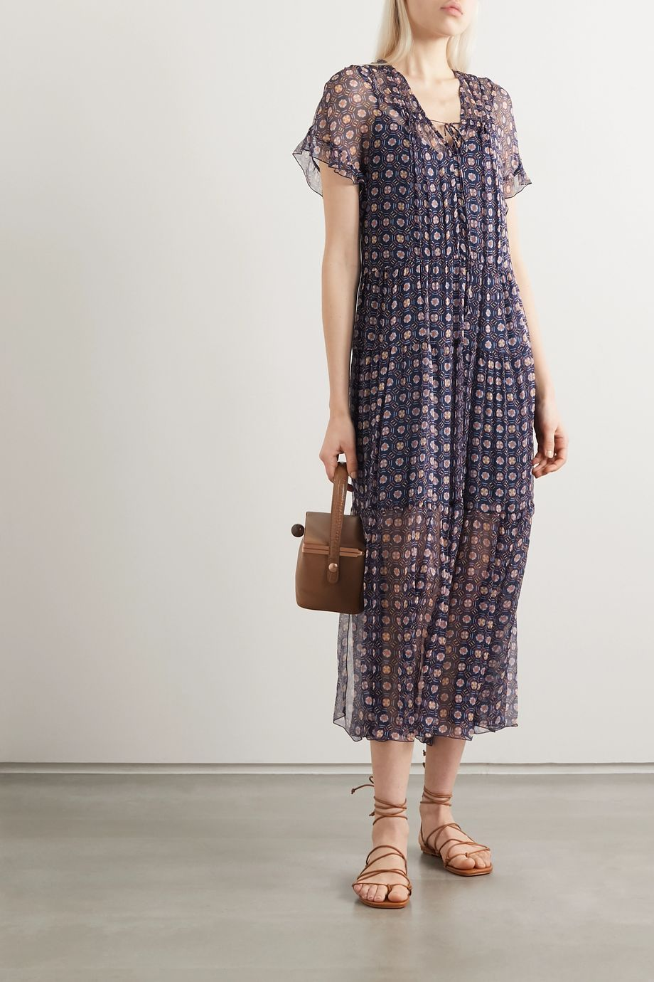 See By Chloé Tiered printed silk-georgette midi dress