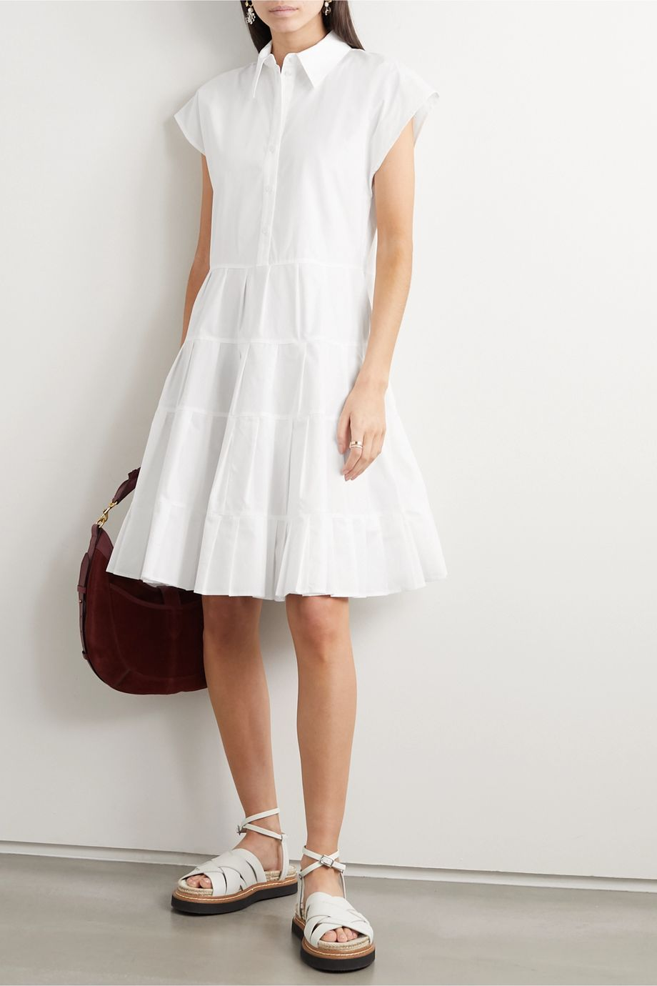 See By Chloé Pleated tiered cotton-poplin shirt dress