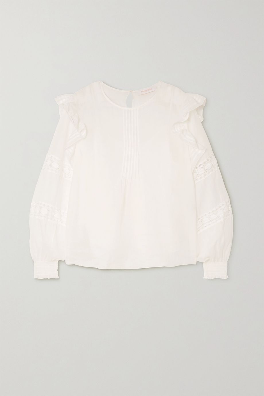 See By Chloé Ruffled crochet-paneled ramie blouse