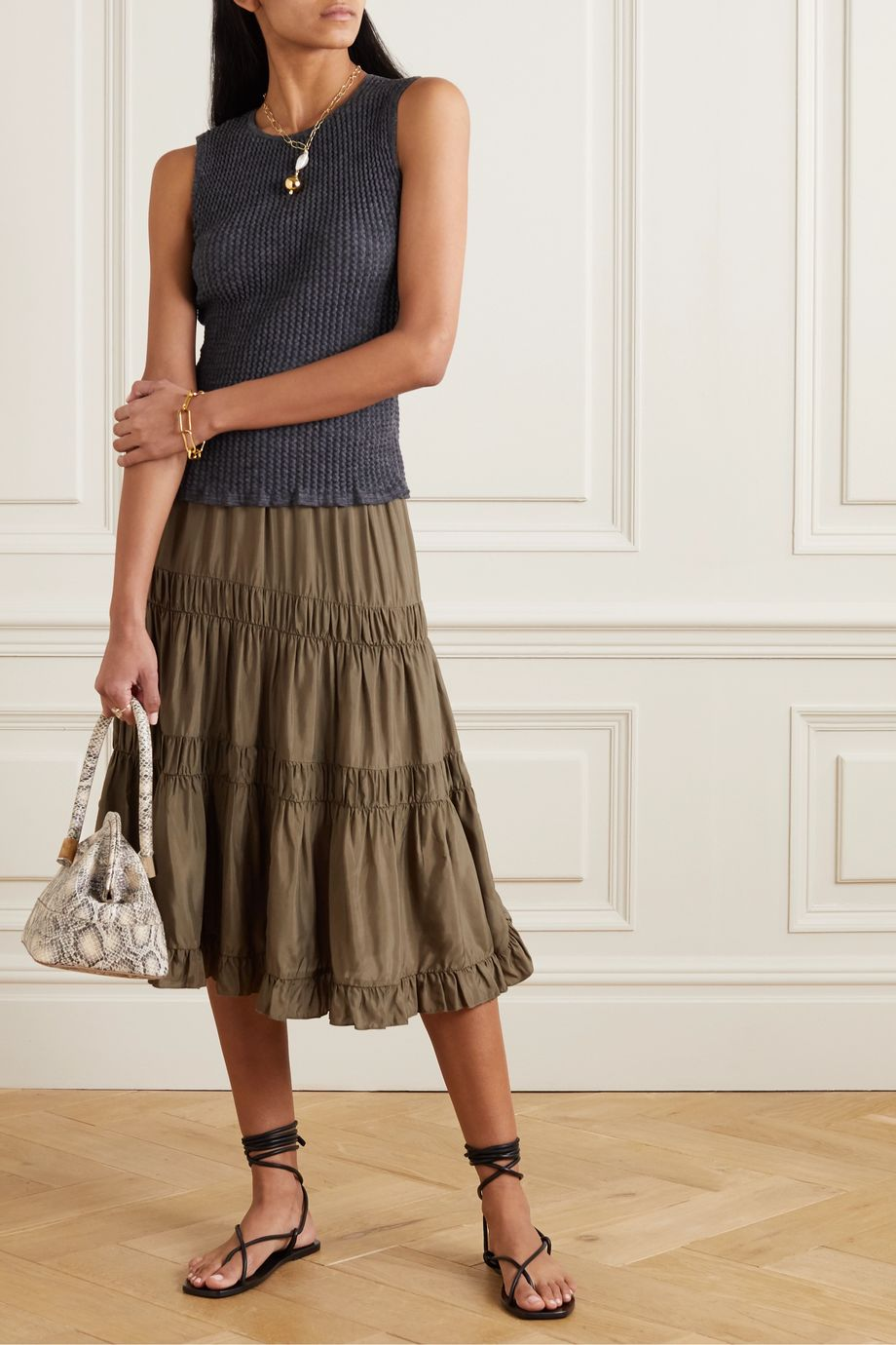 See By Chloé Tiered ruffled habotai skirt