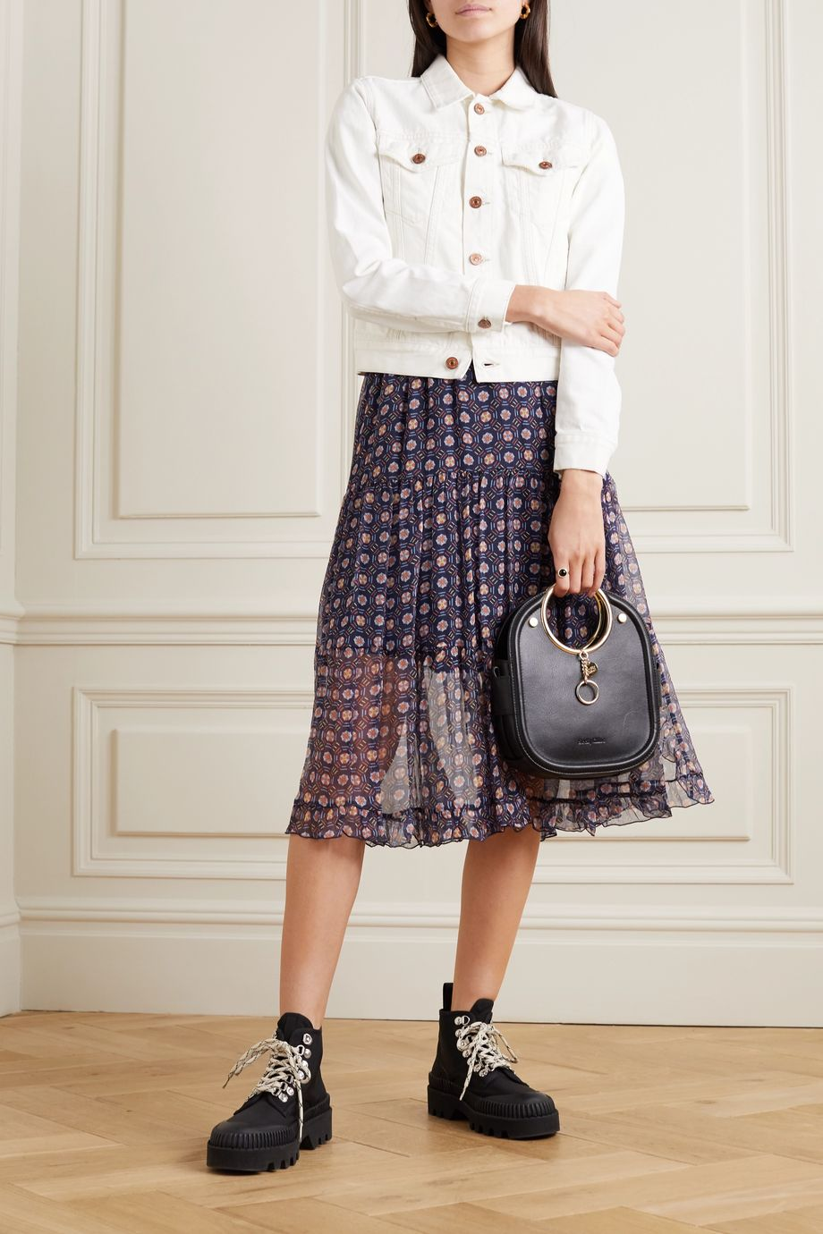 See By Chloé Tiered printed silk-chiffon midi skirt