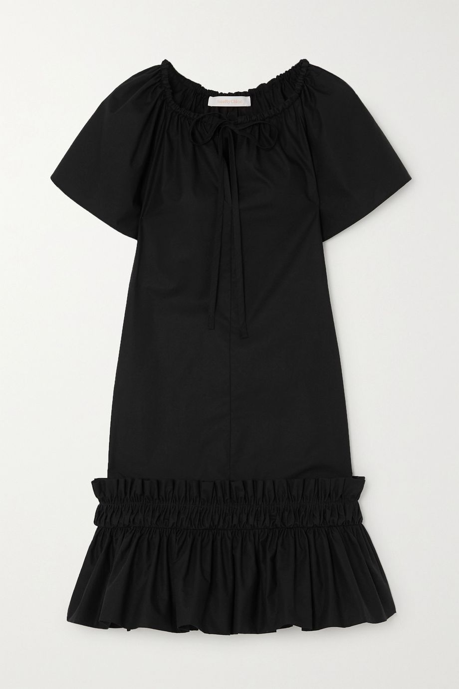 See By Chloé Ruffled tiered cotton-poplin mini dress