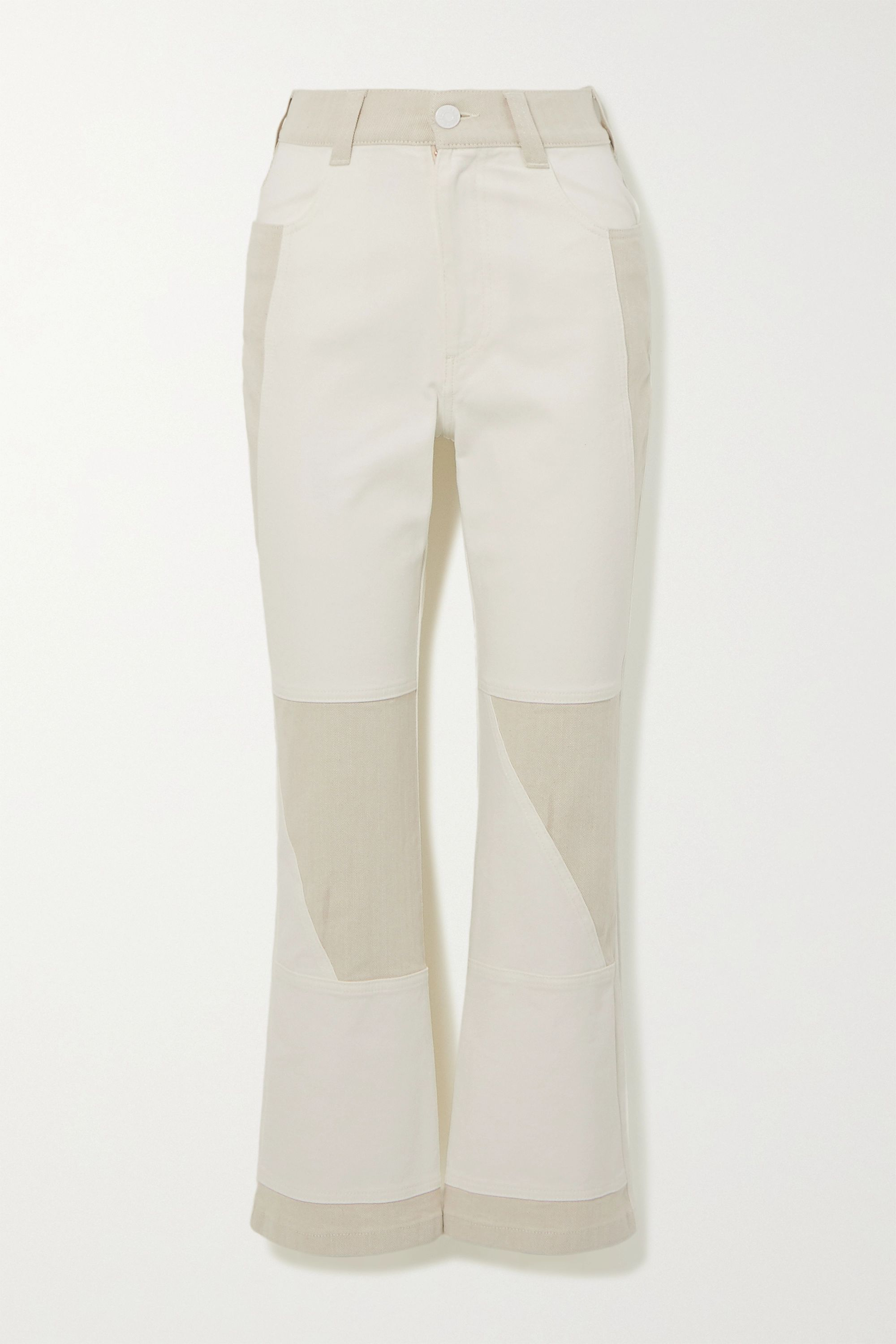 See By Chloé Two-tone high-rise flared jeans