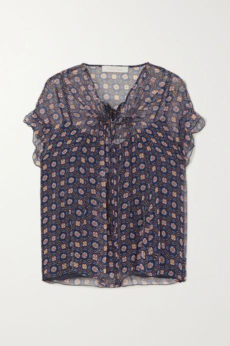 Blue Printed silk-chiffon blouse  | See By Chloé FvB1vW