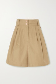 Button-detailed cotton-twill shorts