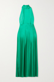Michelle silk-satin halterneck midi dress