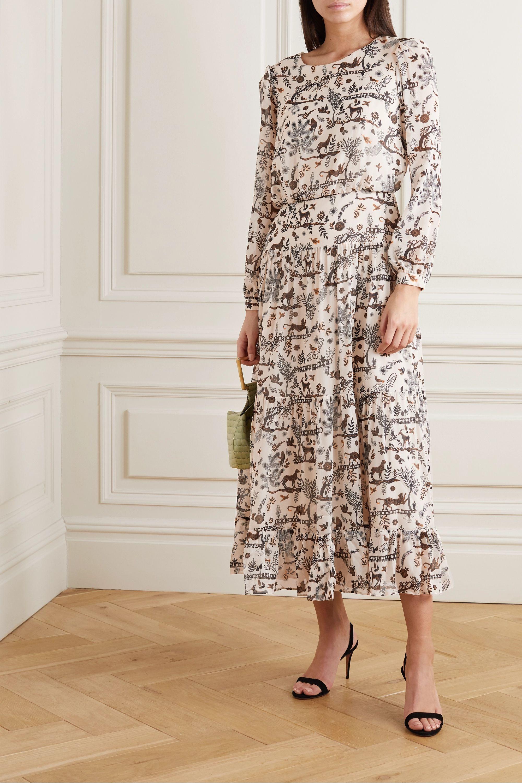 Ivoire Robe Midi En Georgette De Soie Imprimee Isabel Saloni Net A Porter