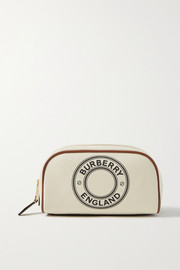 Burberry Leather-trimmed printed canvas cosmetics case