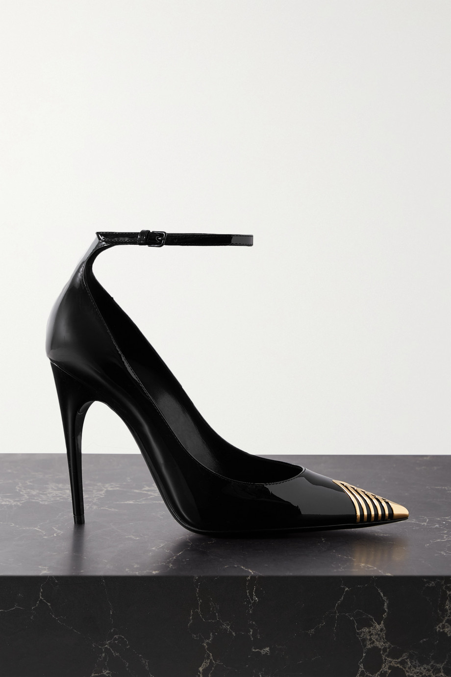 SAINT LAURENT Embellished patent-leather pumps
