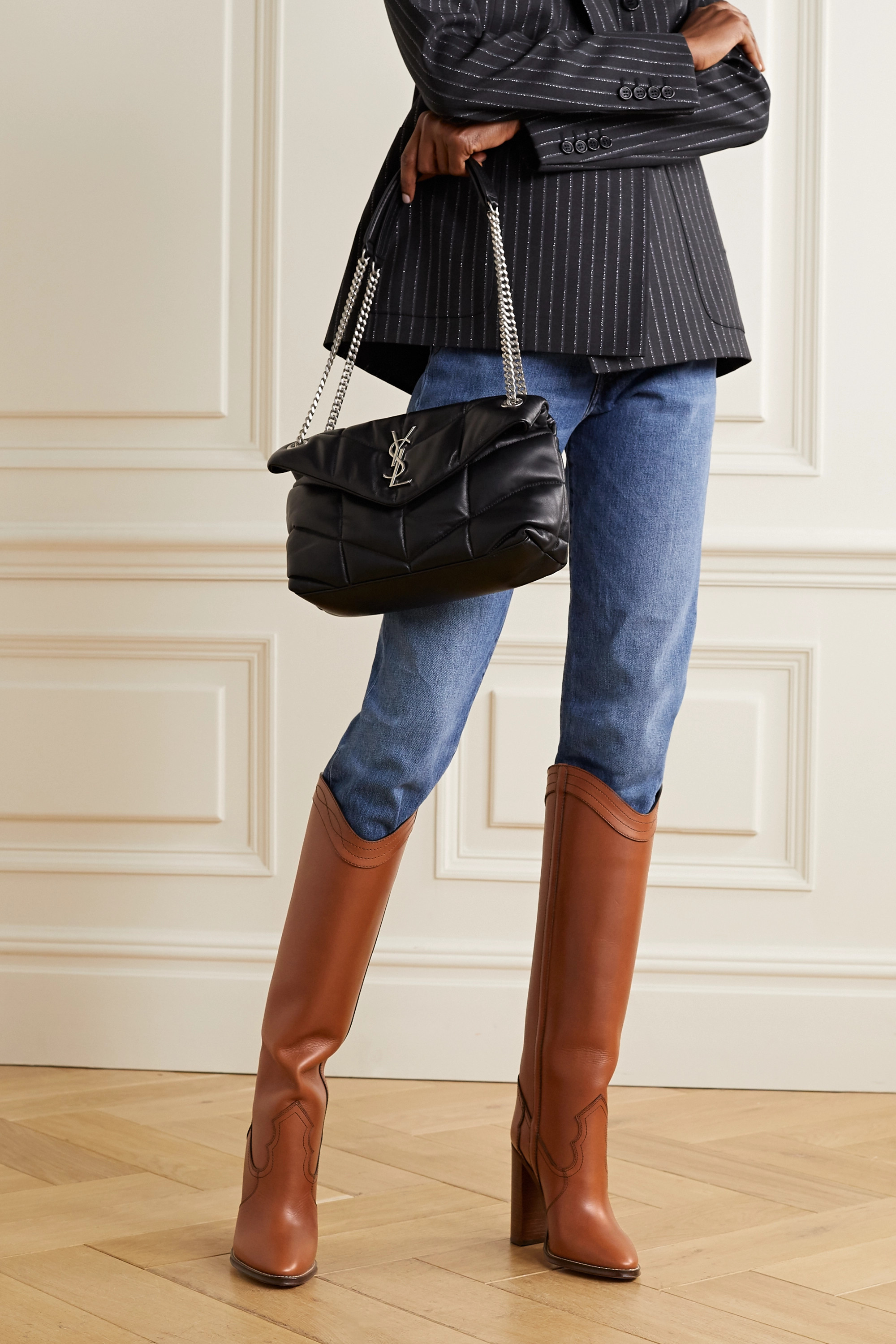 SAINT LAURENT Kate leather knee boots