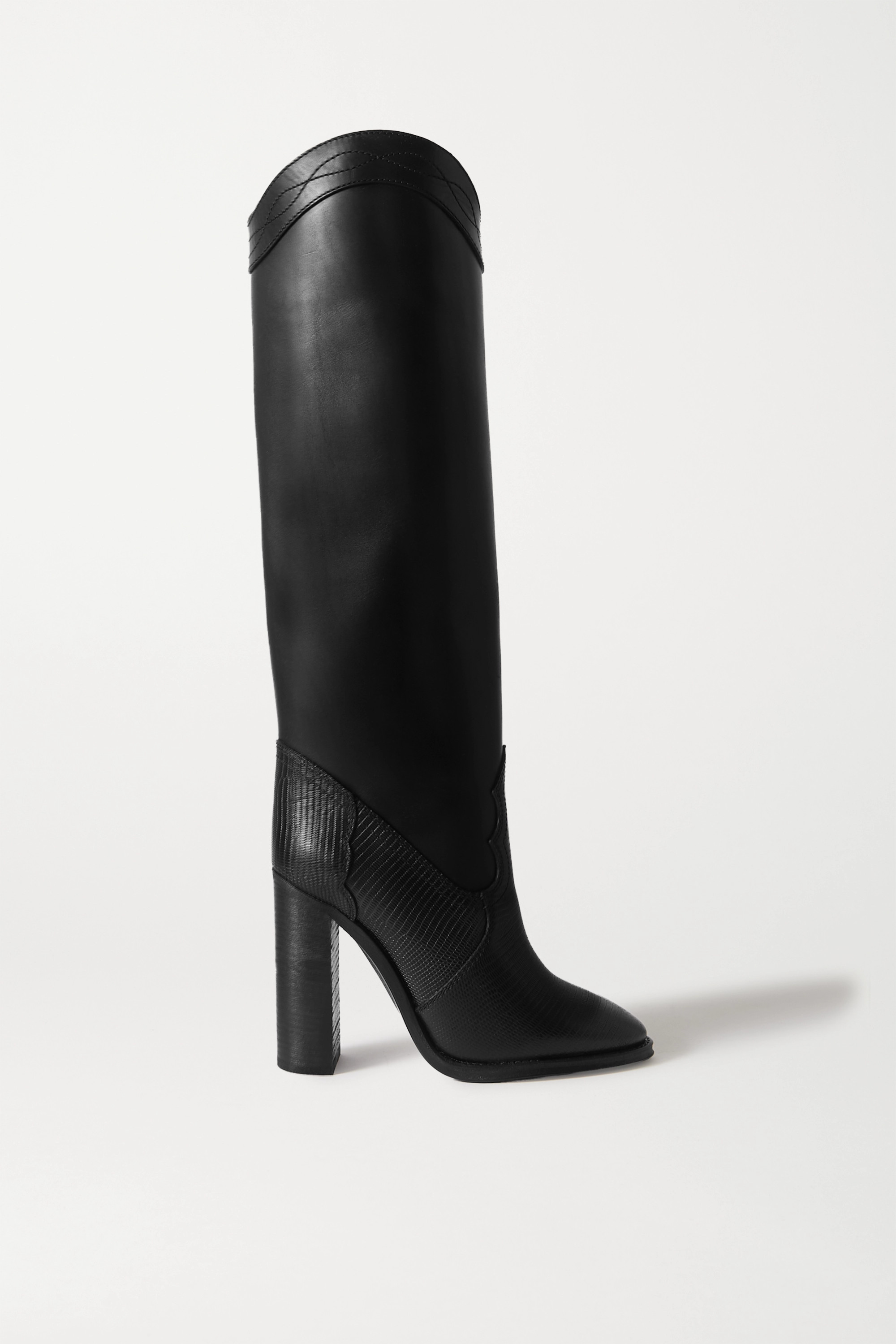 SAINT LAURENT Kate kniehohe Stiefel aus Glattleder und Leder mit Eidechseneffekt
