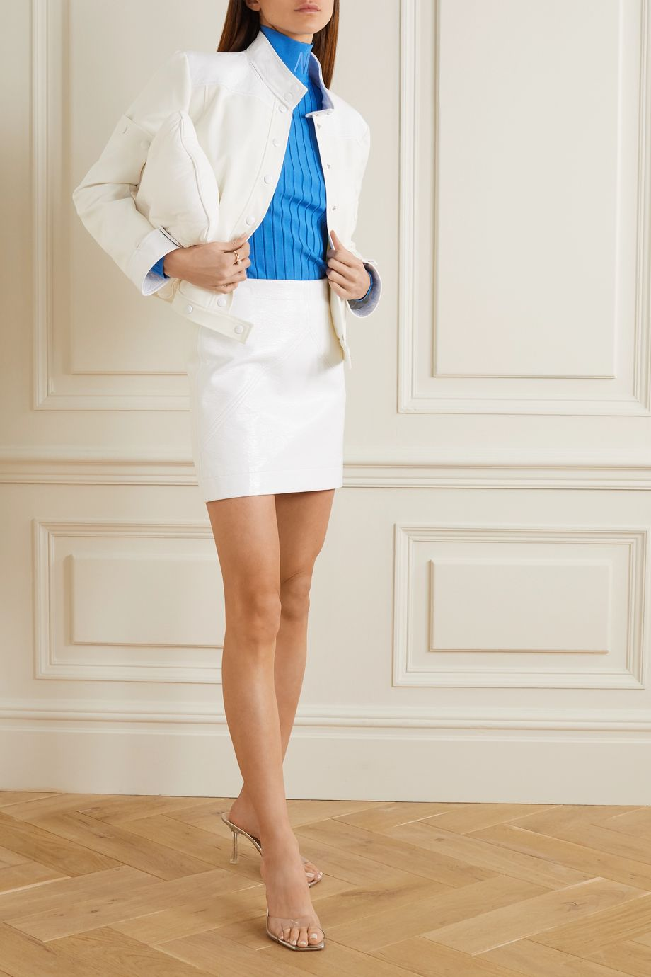 COURREGES Convertible embroidered coated cotton-twill jacket