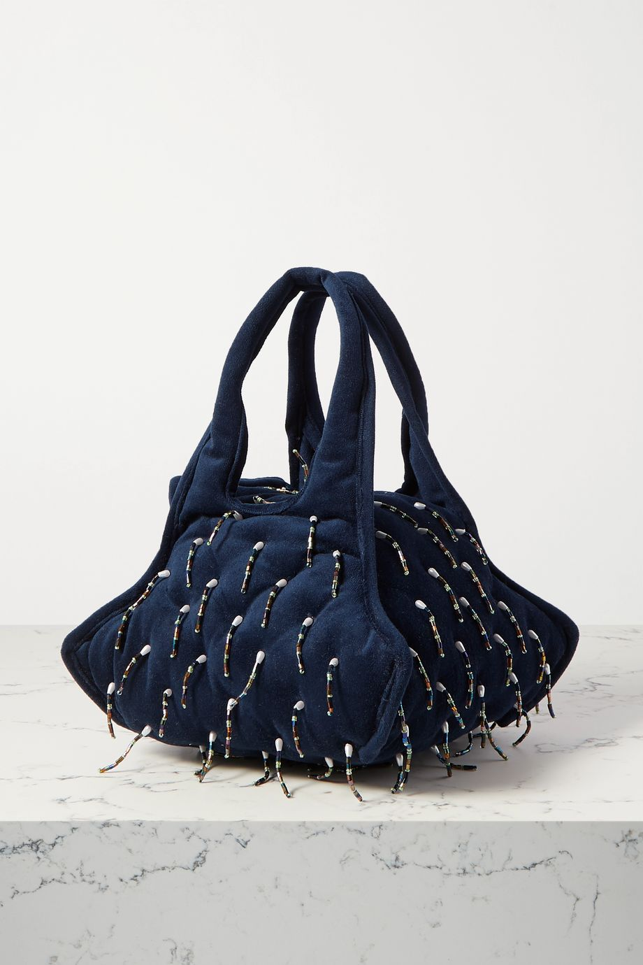 Khaore Pillow faux pearl and bead-embellished velvet tote
