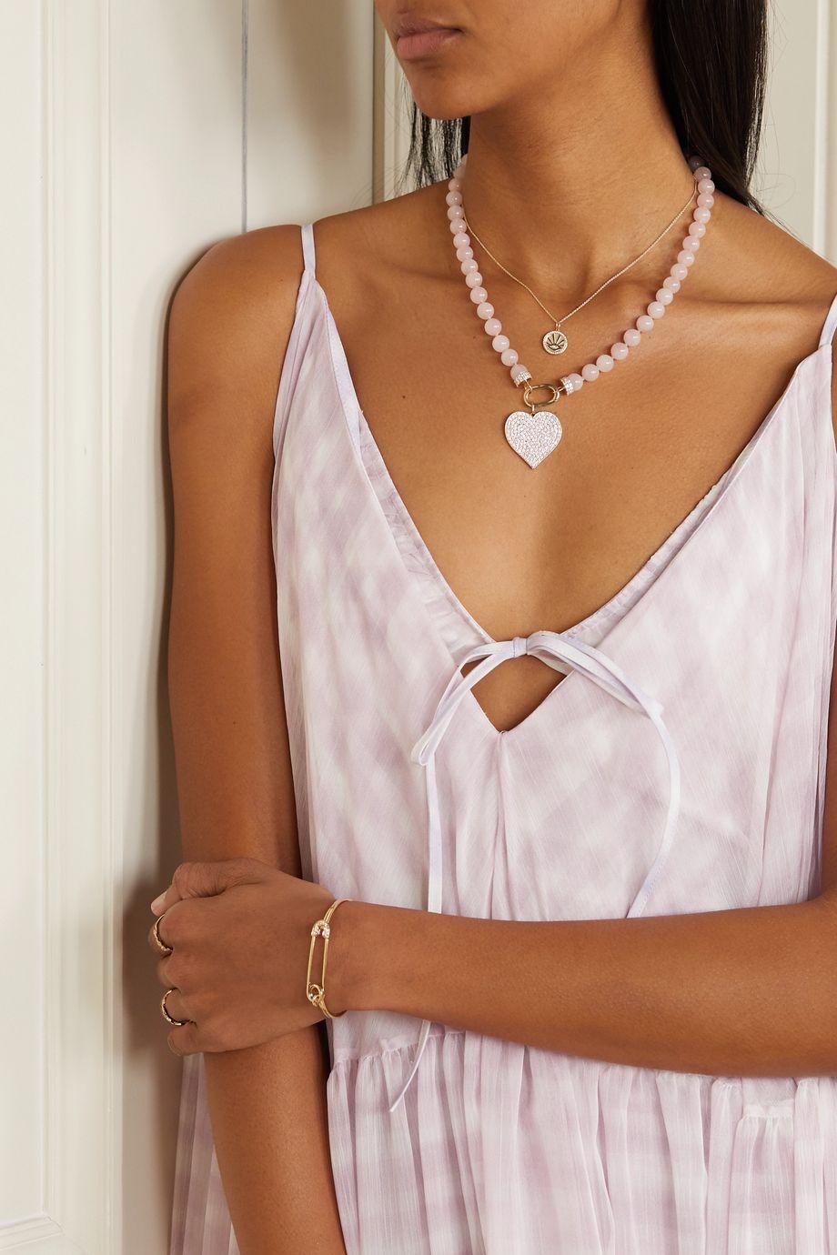 Sydney Evan 14-karat gold, diamond and quartz necklace