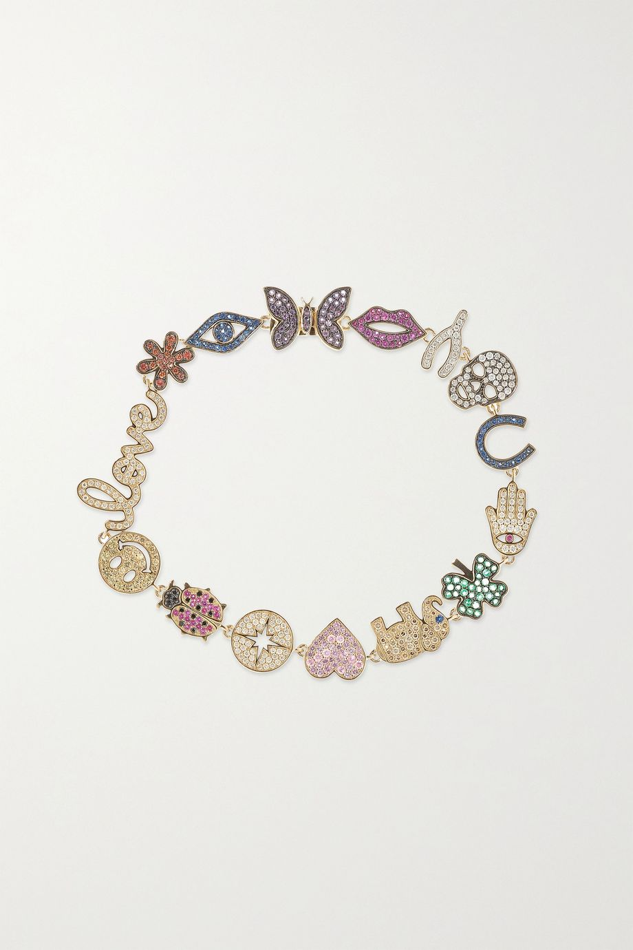 Sydney Evan 14-karat gold, diamond and sapphire bracelet