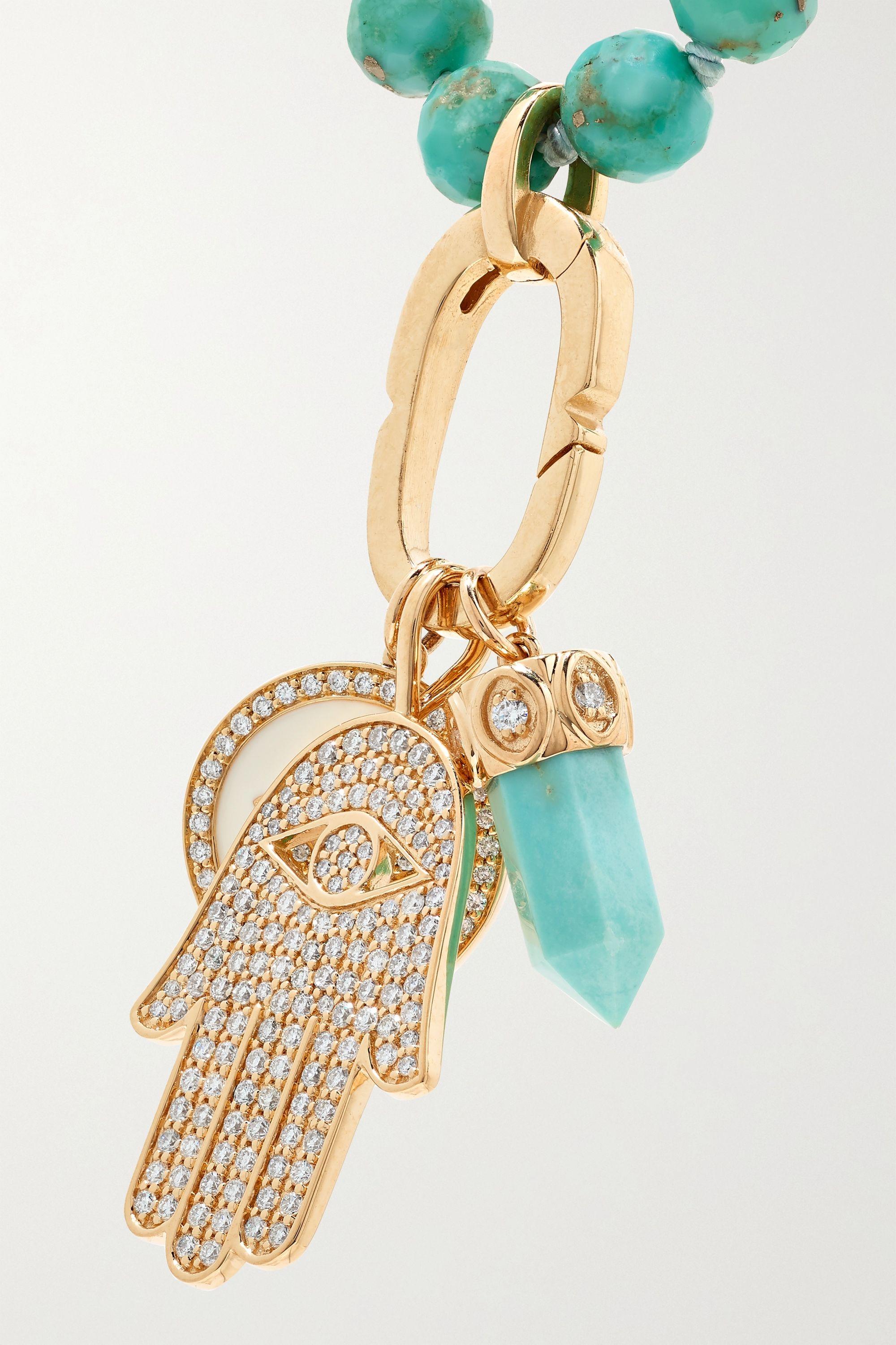 Sydney Evan 14-karat gold, turquoise and diamond necklace