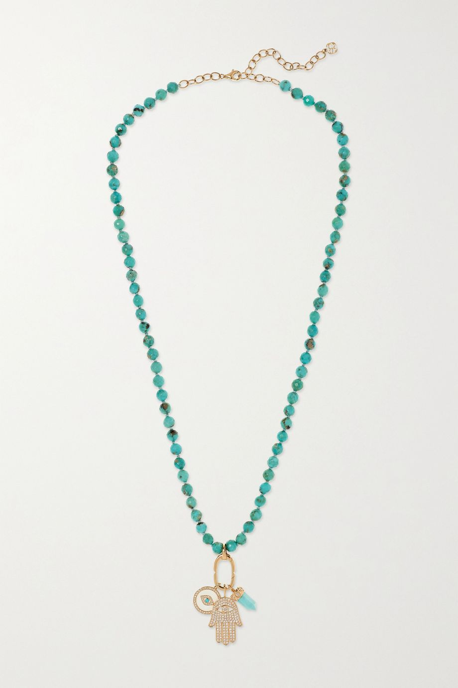 Sydney Evan 14-karat gold, turquoise and diamond necklace