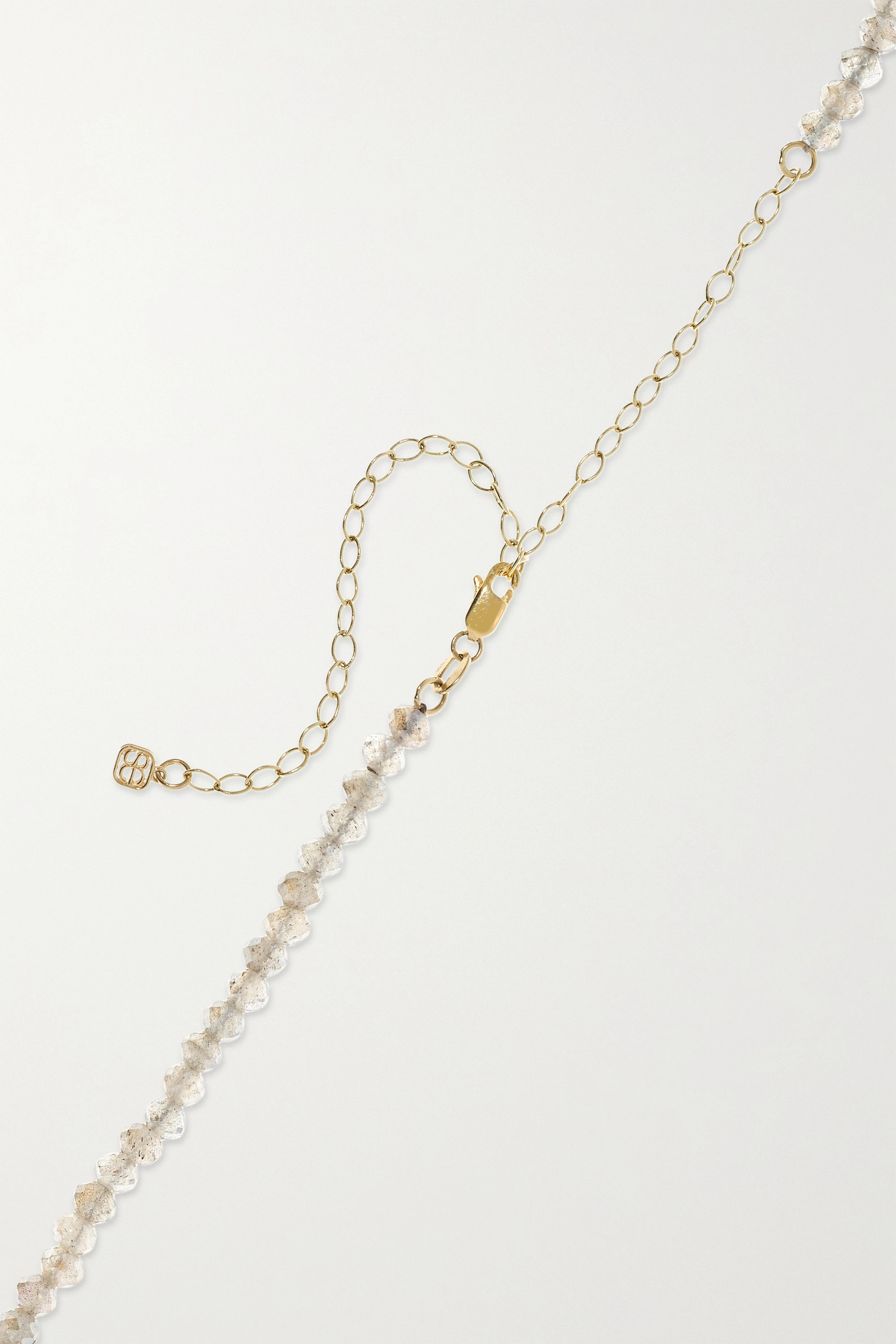 Sydney Evan Star And Moon 14-karat yellow and white gold labradorite and diamond necklace