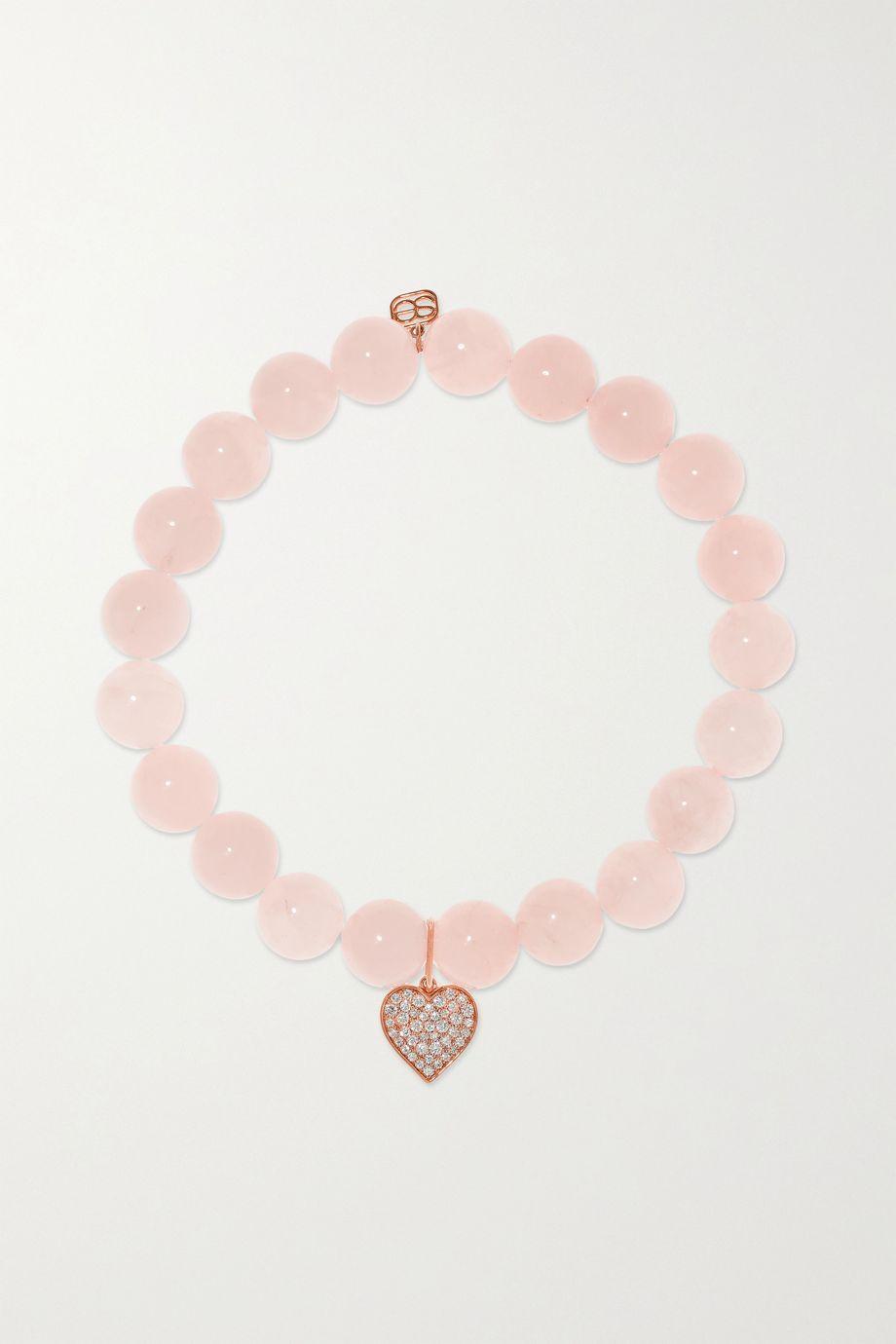 Sydney Evan Mini Heart 14-karat rose gold, quartz and diamond bracelet