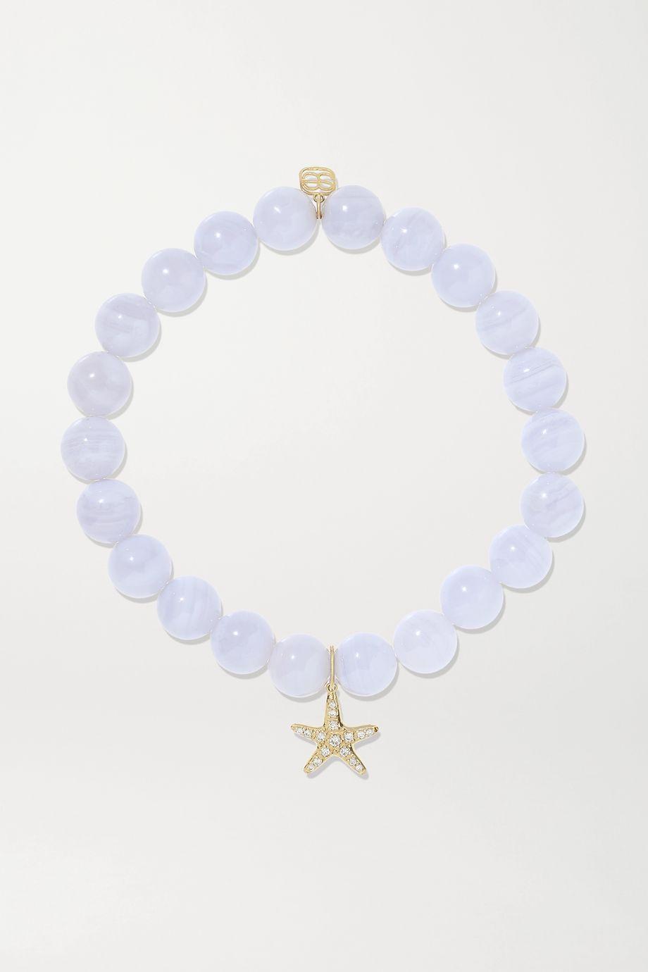 Sydney Evan 14-karat gold, agate and diamond bracelet