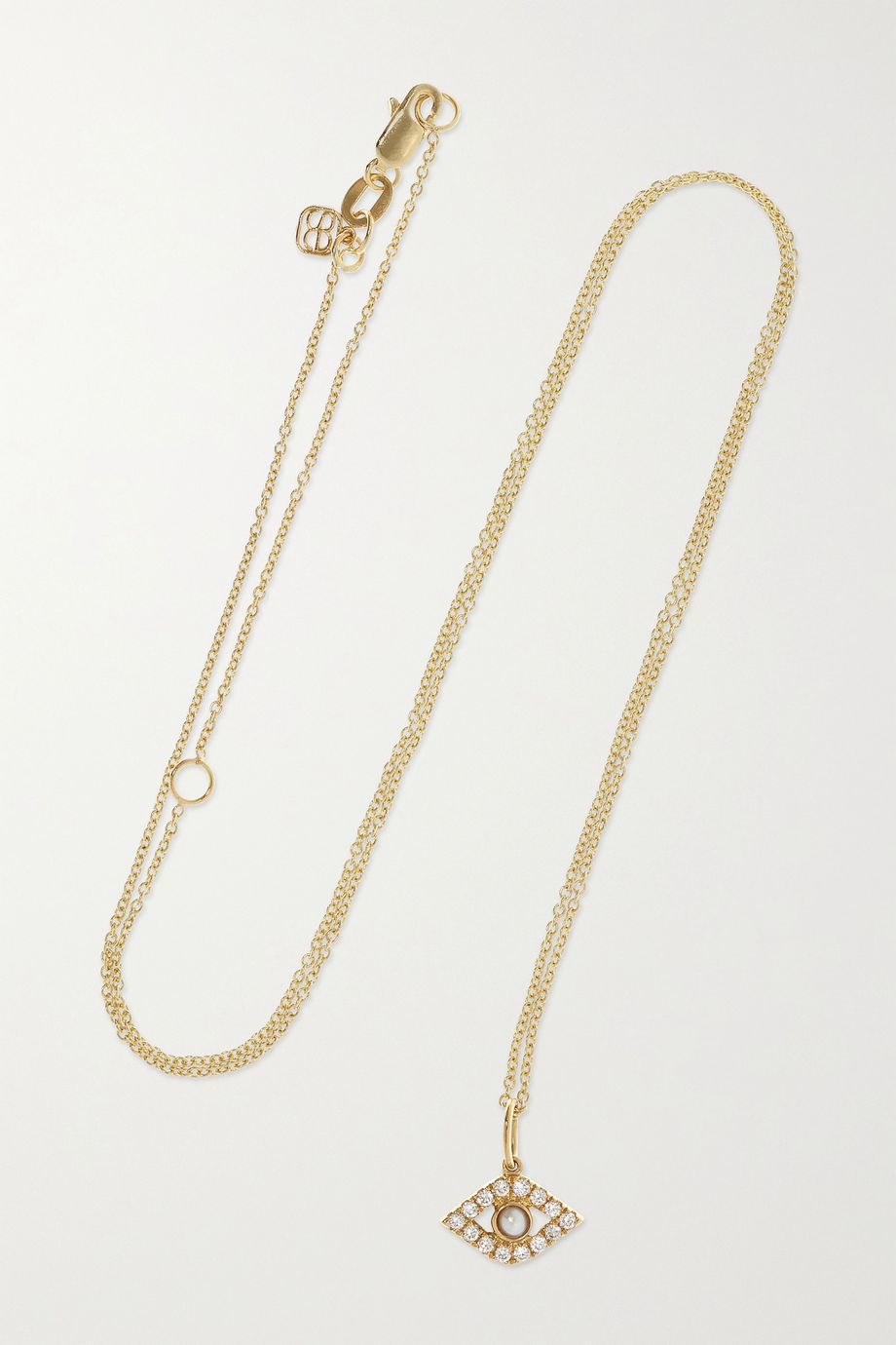 Sydney Evan 14-karat gold, diamond and pearl necklace