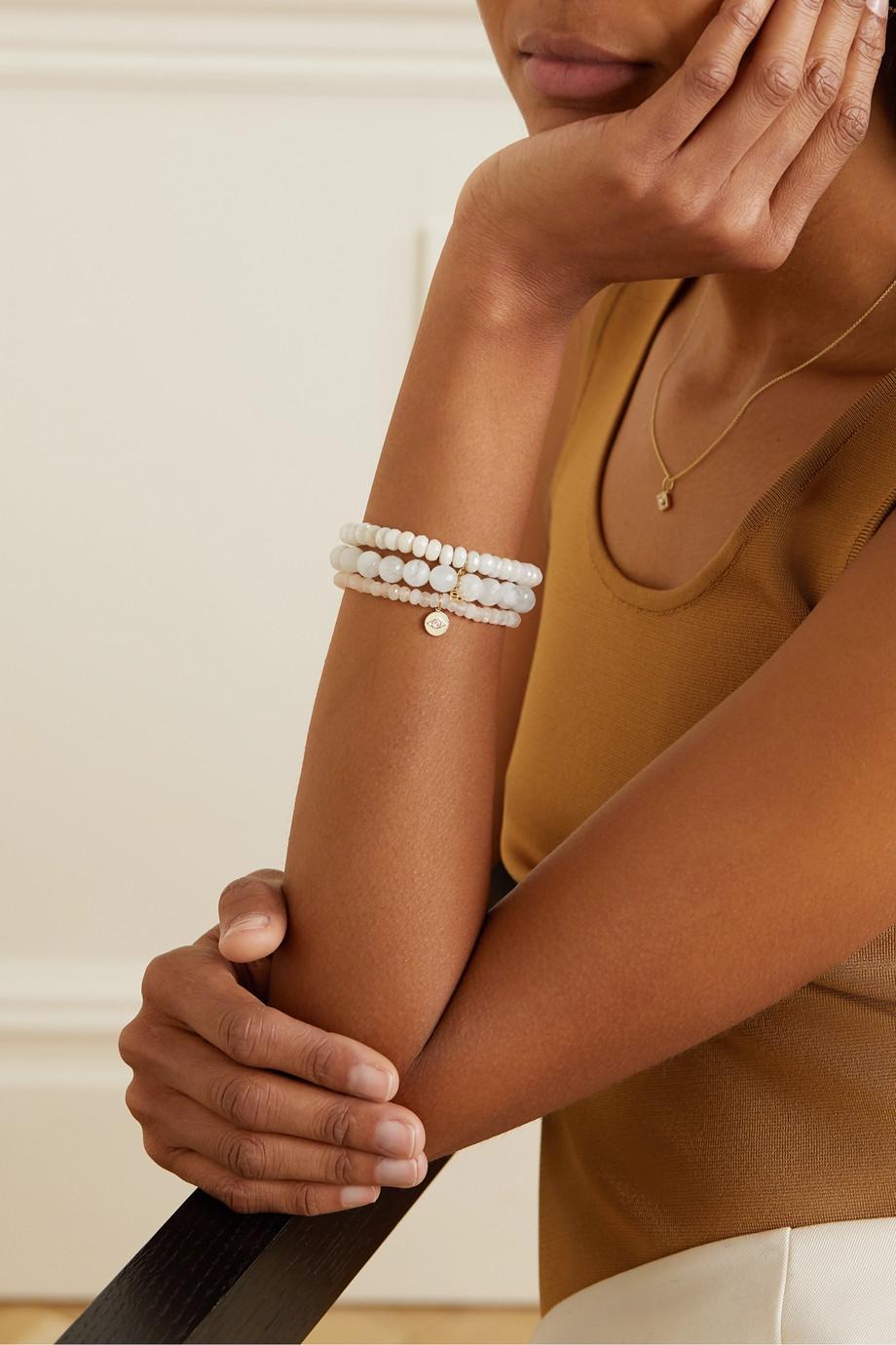 Sydney Evan Tiny Evil Eye 14-karat gold, moonstone, diamond and enamel bracelet