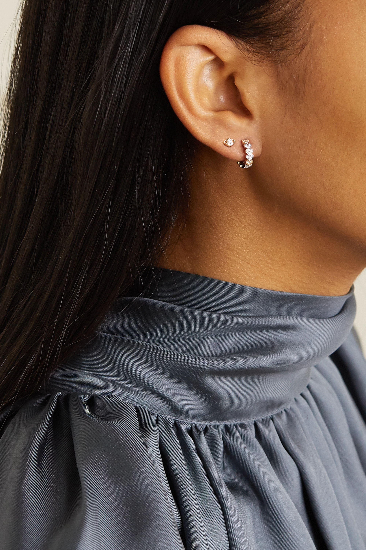 Sydney Evan Small Evil Eye 14-karat gold diamond earrings